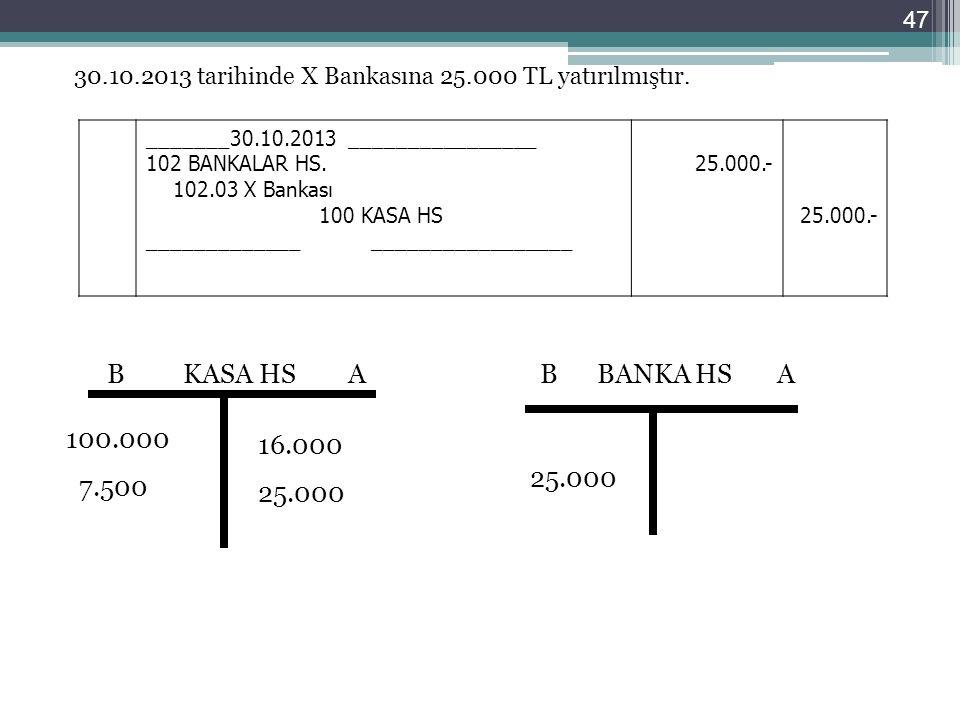 30.10.2013 tarihinde X Bankasına 25.000 TL yatırılmıştır. _______30.10.2013 ________________ 102 BANKALAR HS. 102.03 X Bankası 100 KASA HS ___________