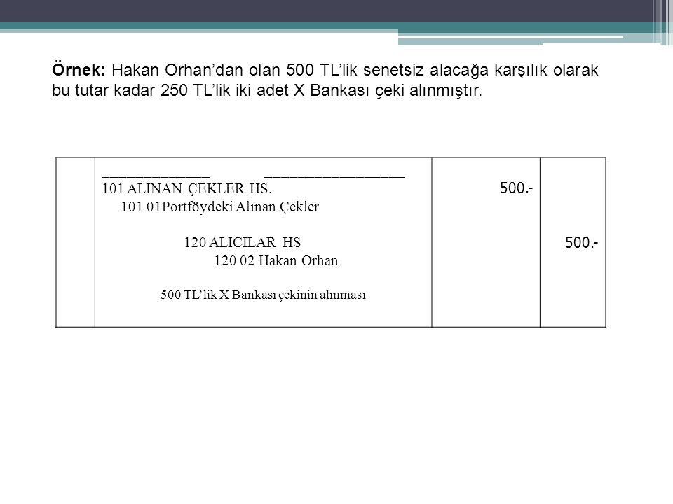 55 _____________ _________________ 101 ALINAN ÇEKLER HS. 101 01Portföydeki Alınan Çekler 120 ALICILAR HS 120 02 Hakan Orhan 500 TL'lik X Bankası çekin