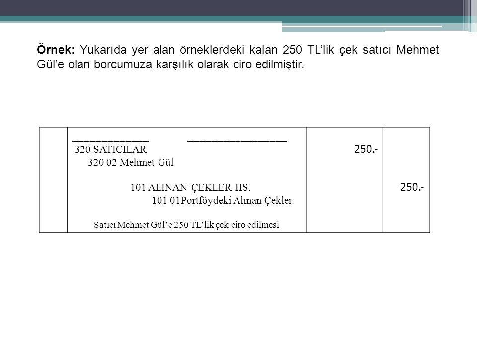 57 Örnek: Yukarıda yer alan örneklerdeki kalan 250 TL'lik çek satıcı Mehmet Gül'e olan borcumuza karşılık olarak ciro edilmiştir. _____________ ______