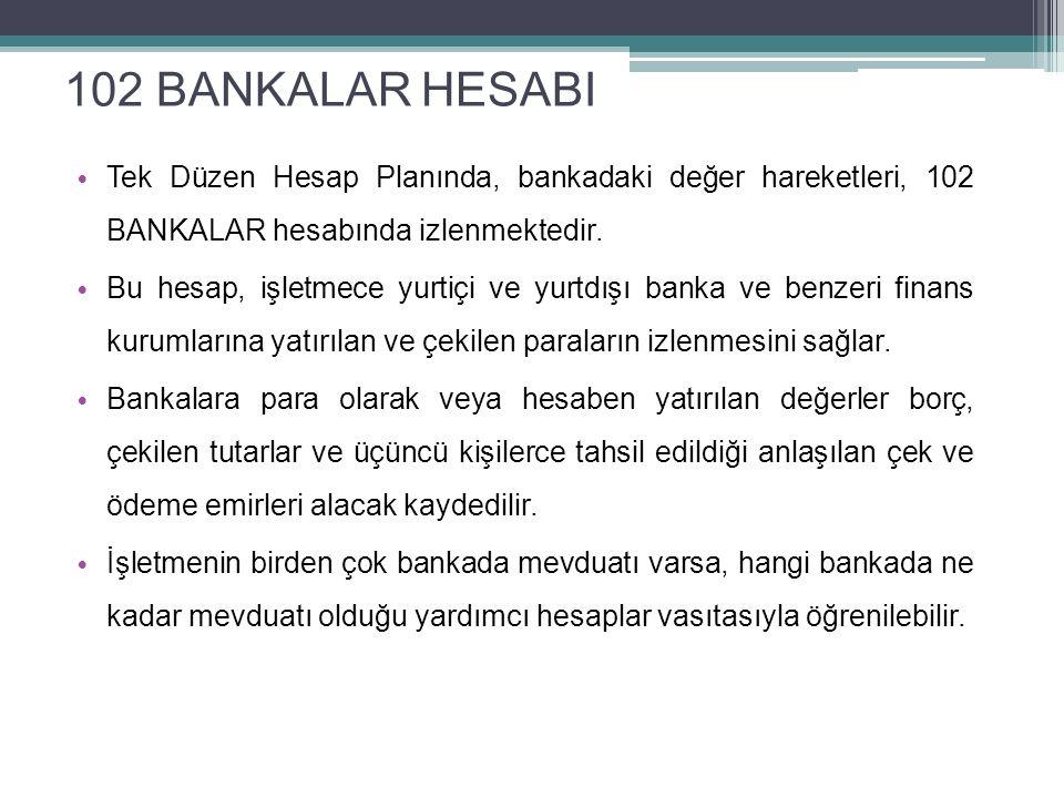 59 102 BANKALAR HESABI Tek Düzen Hesap Planında, bankadaki değer hareketleri, 102 BANKALAR hesabında izlenmektedir. Bu hesap, işletmece yurtiçi ve yur