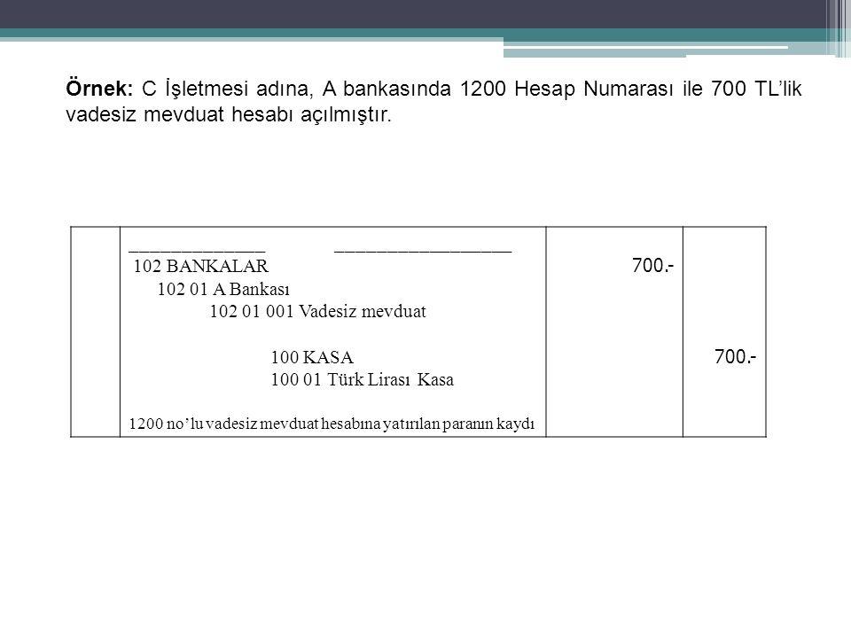 62 Örnek: C İşletmesi adına, A bankasında 1200 Hesap Numarası ile 700 TL'lik vadesiz mevduat hesabı açılmıştır. _____________ _________________ 102 BA