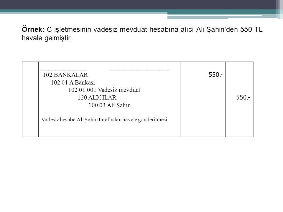 64 Örnek: C işletmesinin vadesiz mevduat hesabına alıcı Ali Şahin'den 550 TL havale gelmiştir. _____________ _________________ 102 BANKALAR 102 01 A B