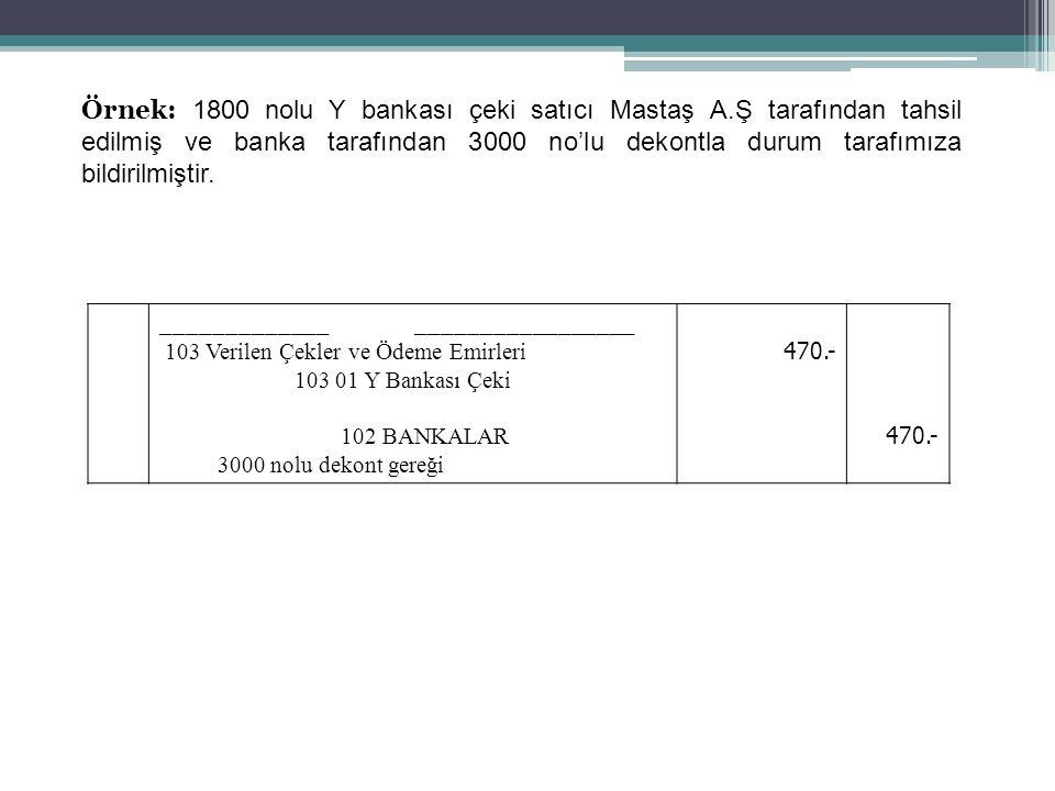 69 Örnek: 1800 nolu Y bankası çeki satıcı Mastaş A.Ş tarafından tahsil edilmiş ve banka tarafından 3000 no'lu dekontla durum tarafımıza bildirilmiştir.