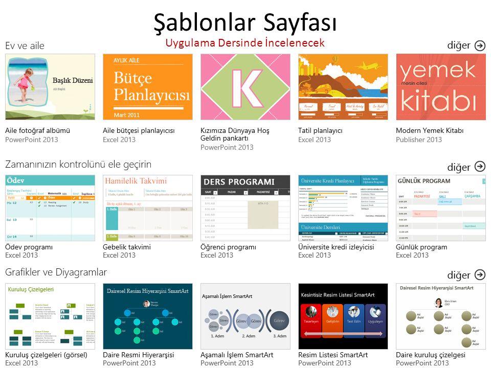 Şablonlar Sayfası Uygulama Dersinde İncelenecek