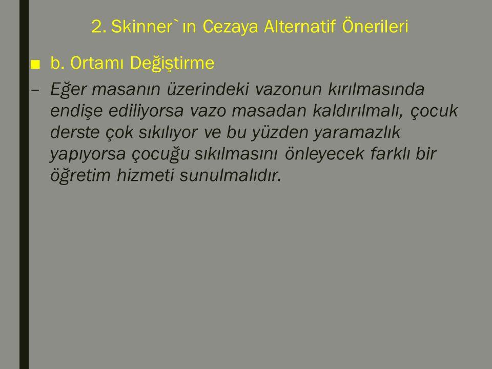 2. Skinner`ın Cezaya Alternatif Önerileri ■b. Ortamı Değiştirme –Eğer masanın üzerindeki vazonun kırılmasında endişe ediliyorsa vazo masadan kaldırılm