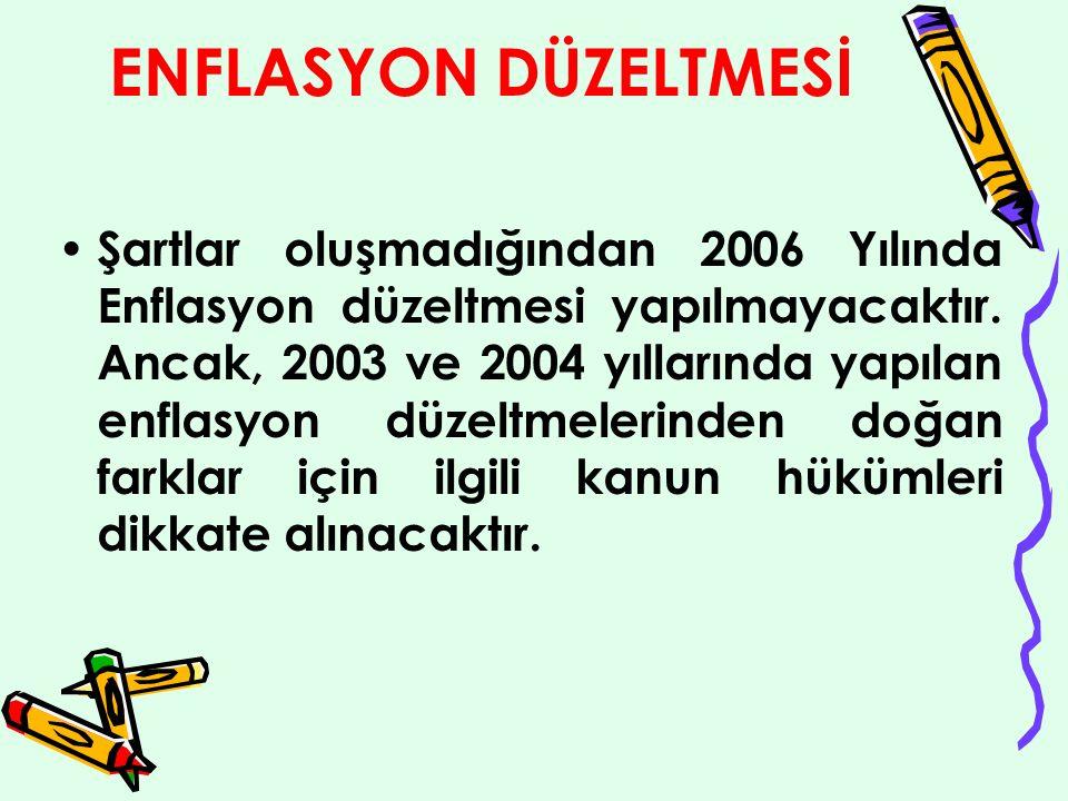 ENFLASYON DÜZELTMESİ Şartlar oluşmadığından 2006 Yılında Enflasyon düzeltmesi yapılmayacaktır.