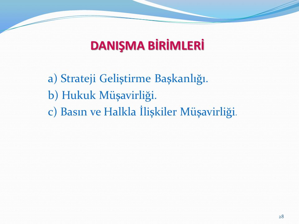 28 DANIŞMA BİRİMLERİ a) Strateji Geliştirme Başkanlığı.
