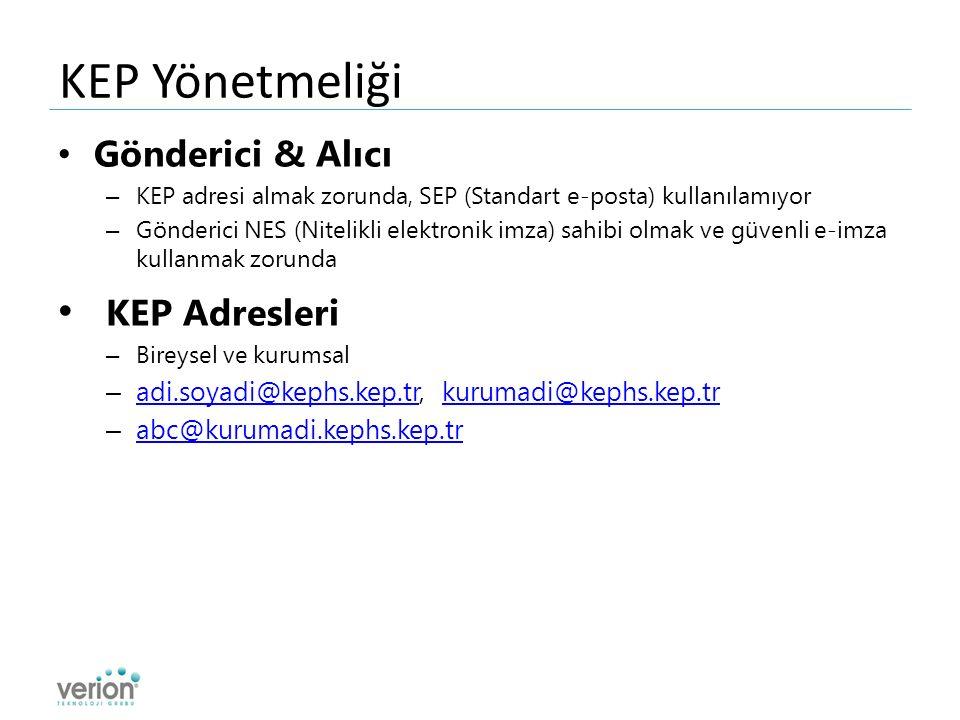 KEP Yönetmeliği Gönderici & Alıcı – KEP adresi almak zorunda, SEP (Standart e-posta) kullanılamıyor – Gönderici NES (Nitelikli elektronik imza) sahibi olmak ve güvenli e-imza kullanmak zorunda KEP Adresleri – Bireysel ve kurumsal – adi.soyadi@kephs.kep.tr, kurumadi@kephs.kep.tr adi.soyadi@kephs.kep.trkurumadi@kephs.kep.tr – abc@kurumadi.kephs.kep.tr abc@kurumadi.kephs.kep.tr