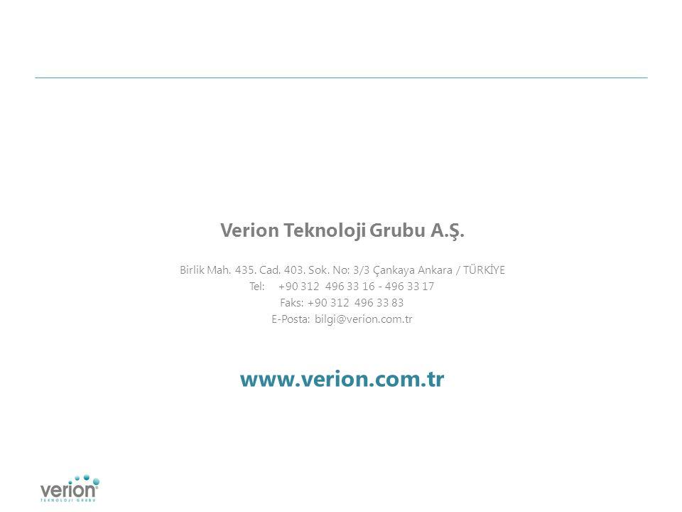 Verion Teknoloji Grubu A.Ş. Birlik Mah. 435. Cad.