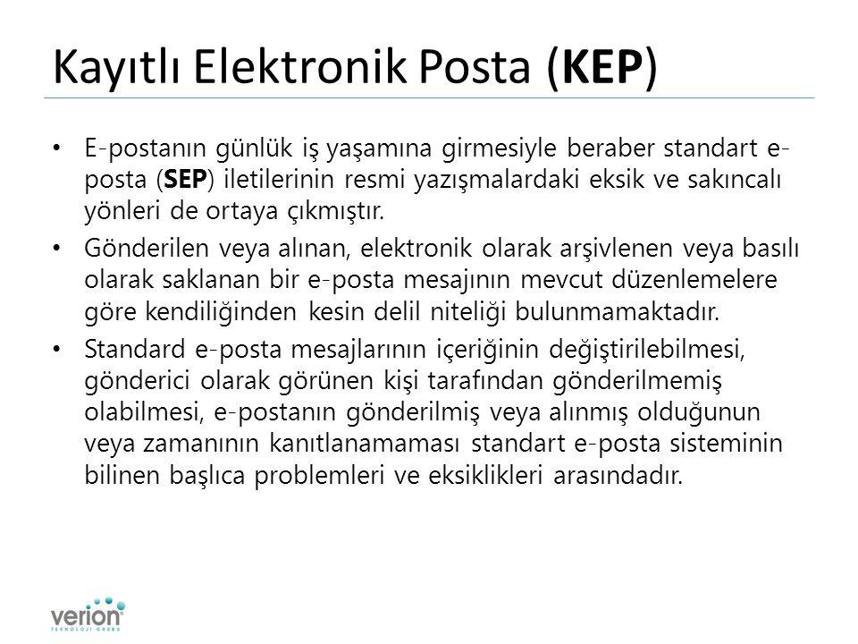 Kayıtlı Elektronik Posta (KEP) E-postanın günlük iş yaşamına girmesiyle beraber standart e- posta (SEP) iletilerinin resmi yazışmalardaki eksik ve sakıncalı yönleri de ortaya çıkmıştır.