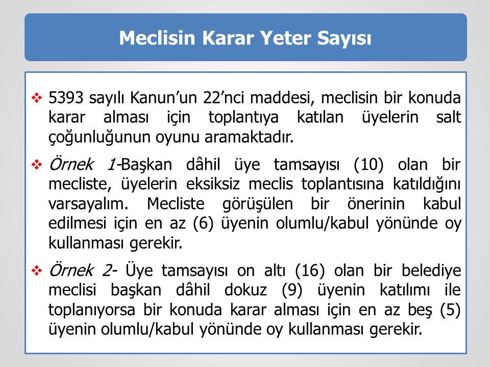 Meclisin Karar Yeter Sayısı  5393 sayılı Kanun'un 22'nci maddesi, meclisin bir konuda karar alması için toplantıya katılan üyelerin salt çoğunluğunun oyunu aramaktadır.