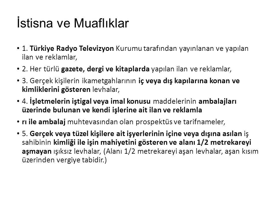 İstisna ve Muaflıklar 1. Türkiye Radyo Televizyon Kurumu tarafından yayınlanan ve yapılan ilan ve reklamlar, 2. Her türlü gazete, dergi ve kitaplarda