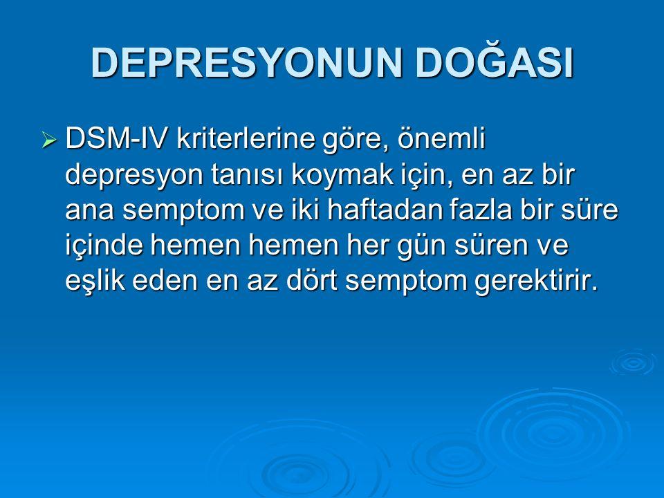 DEPRESYONUN DOĞASI  DSM-IV kriterlerine göre, önemli depresyon tanısı koymak için, en az bir ana semptom ve iki haftadan fazla bir süre içinde hemen hemen her gün süren ve eşlik eden en az dört semptom gerektirir.