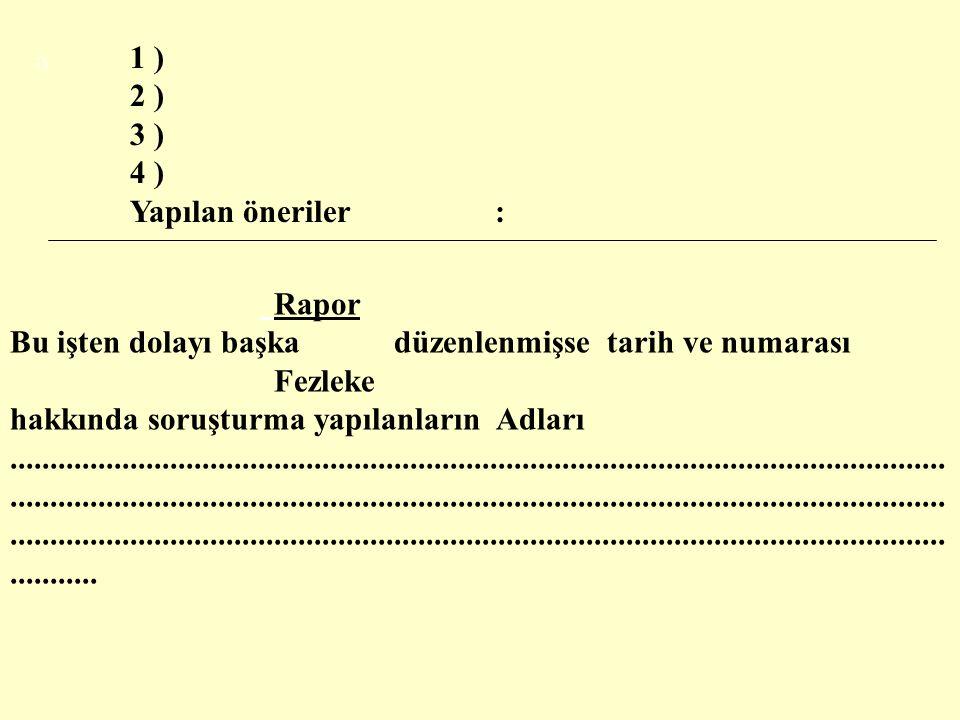 SORUŞTURMA RAPORU KAPAĞI T.C.
