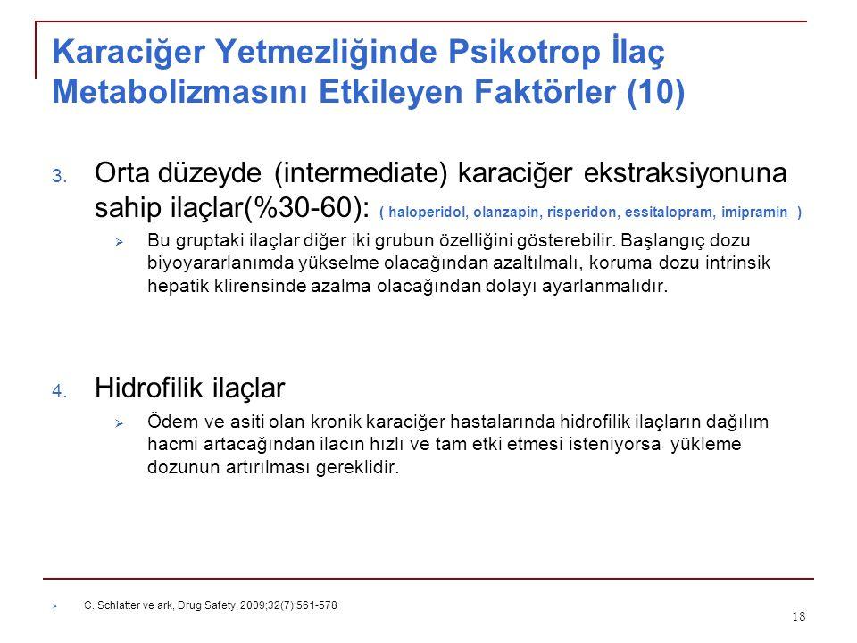 Karaciğer Yetmezliğinde Psikotrop İlaç Metabolizmasını Etkileyen Faktörler (10) 3. Orta düzeyde (intermediate) karaciğer ekstraksiyonuna sahip ilaçlar
