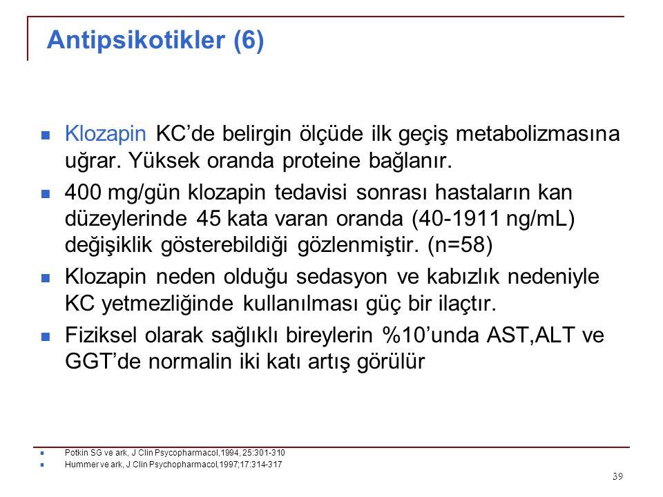 Antipsikotikler (6) Klozapin KC'de belirgin ölçüde ilk geçiş metabolizmasına uğrar. Yüksek oranda proteine bağlanır. 400 mg/gün klozapin tedavisi sonr