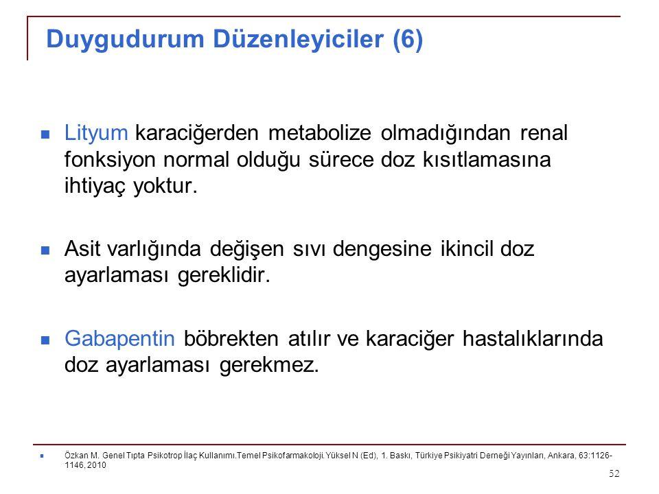 Duygudurum Düzenleyiciler (6) Lityum karaciğerden metabolize olmadığından renal fonksiyon normal olduğu sürece doz kısıtlamasına ihtiyaç yoktur. Asit