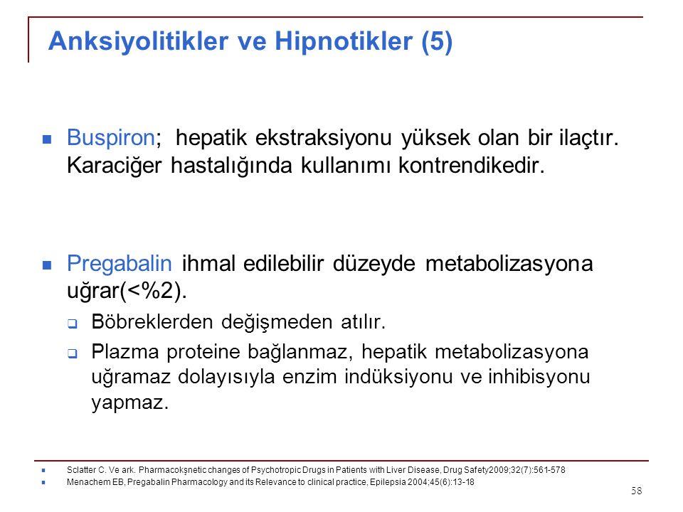 Anksiyolitikler ve Hipnotikler (5) Buspiron; hepatik ekstraksiyonu yüksek olan bir ilaçtır. Karaciğer hastalığında kullanımı kontrendikedir. Pregabali