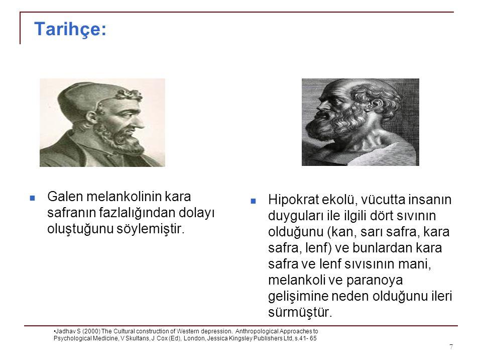 Tarihçe: Galen melankolinin kara safranın fazlalığından dolayı oluştuğunu söylemiştir. Jadhav S (2000) The Cultural construction of Western depression