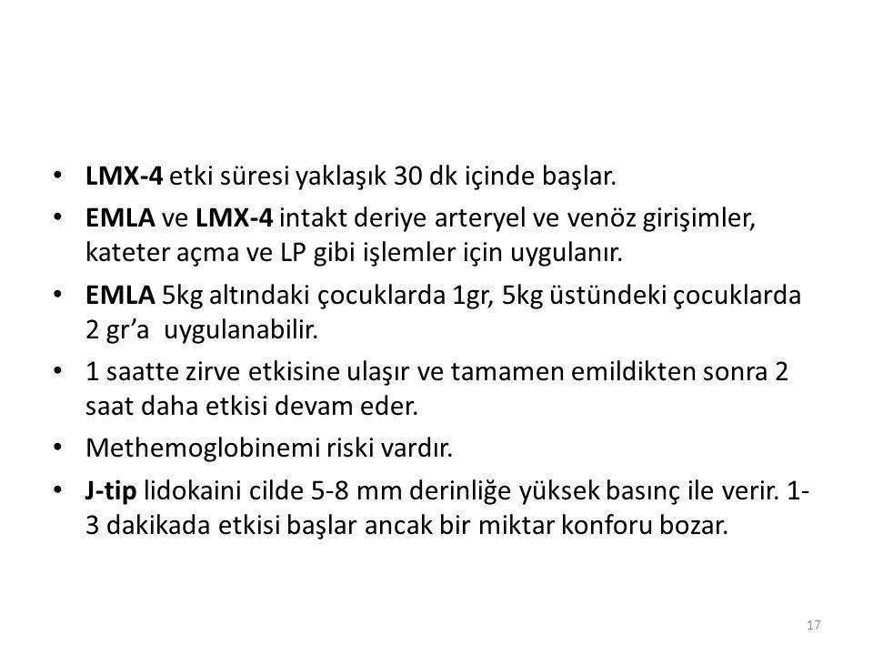 LMX-4 etki süresi yaklaşık 30 dk içinde başlar. EMLA ve LMX-4 intakt deriye arteryel ve venöz girişimler, kateter açma ve LP gibi işlemler için uygula