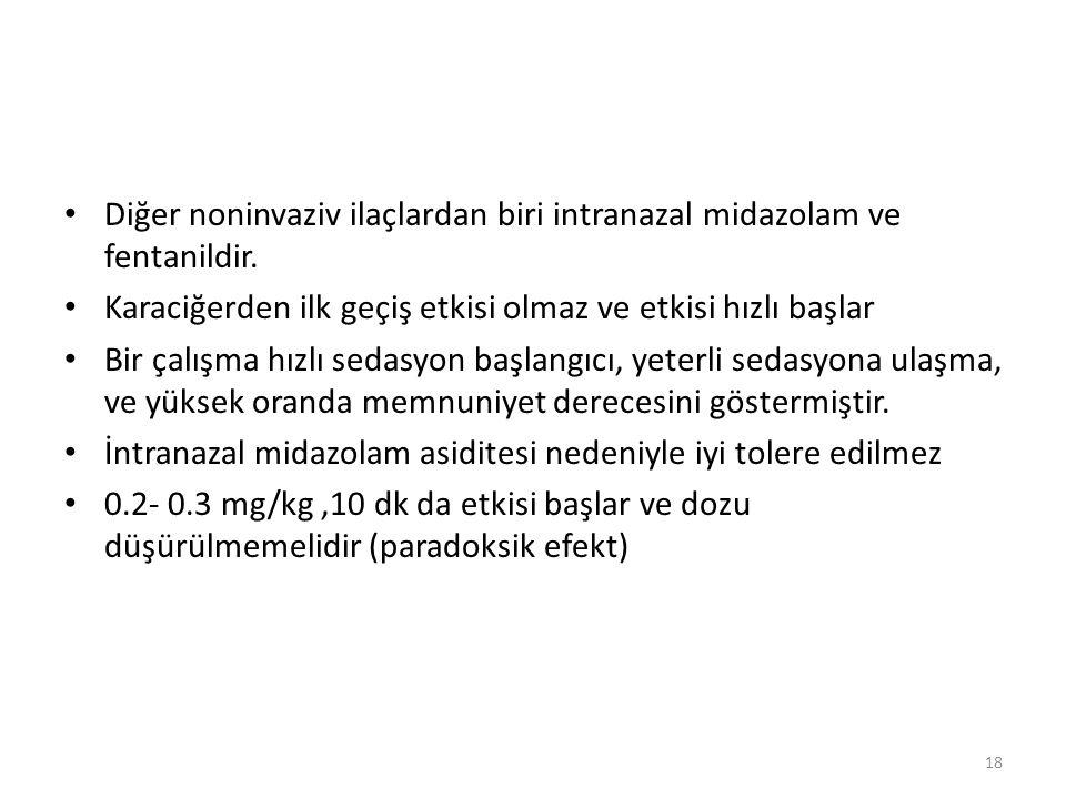 Diğer noninvaziv ilaçlardan biri intranazal midazolam ve fentanildir.