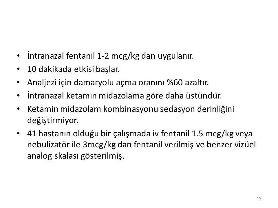 İntranazal fentanil 1-2 mcg/kg dan uygulanır. 10 dakikada etkisi başlar.