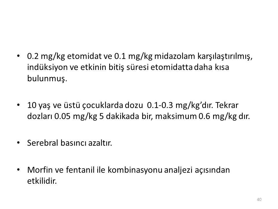 0.2 mg/kg etomidat ve 0.1 mg/kg midazolam karşılaştırılmış, indüksiyon ve etkinin bitiş süresi etomidatta daha kısa bulunmuş.