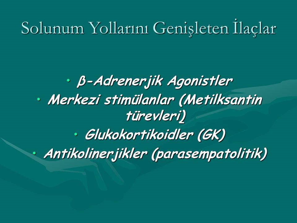 Solunum Yollarını Genişleten İlaçlar β-Adrenerjik Agonistlerβ-Adrenerjik Agonistler Merkezi stimülanlar (Metilksantin türevleri)Merkezi stimülanlar (Metilksantin türevleri) Glukokortikoidler (GK)Glukokortikoidler (GK) Antikolinerjikler (parasempatolitik)Antikolinerjikler (parasempatolitik)