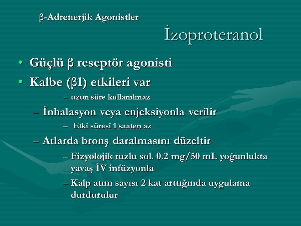 β-Adrenerjik Agonistler İzoproteranol Güçlü β reseptör agonistiGüçlü β reseptör agonisti Kalbe (β1) etkileri varKalbe (β1) etkileri var –uzun süre kullanılmaz –İnhalasyon veya enjeksiyonla verilir – Etki süresi 1 saaten az –Atlarda bronş daralmasını düzeltir –Fizyolojik tuzlu sol.