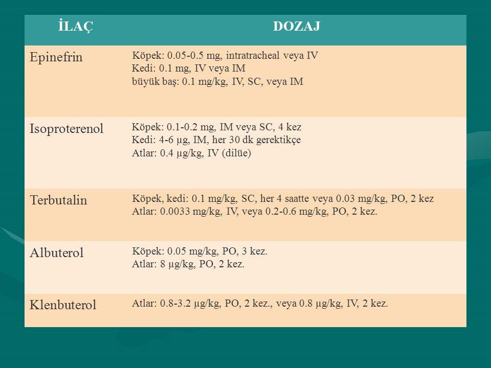 İLAÇDOZAJ Epinefrin Köpek: 0.05-0.5 mg, intratracheal veya IV Kedi: 0.1 mg, IV veya IM büyük baş: 0.1 mg/kg, IV, SC, veya IM Isoproterenol Köpek: 0.1-0.2 mg, IM veya SC, 4 kez Kedi: 4-6 µg, IM, her 30 dk gerektikçe Atlar: 0.4 µg/kg, IV (dilüe) Terbutalin Köpek, kedi: 0.1 mg/kg, SC, her 4 saatte veya 0.03 mg/kg, PO, 2 kez Atlar: 0.0033 mg/kg, IV, veya 0.2-0.6 mg/kg, PO, 2 kez.
