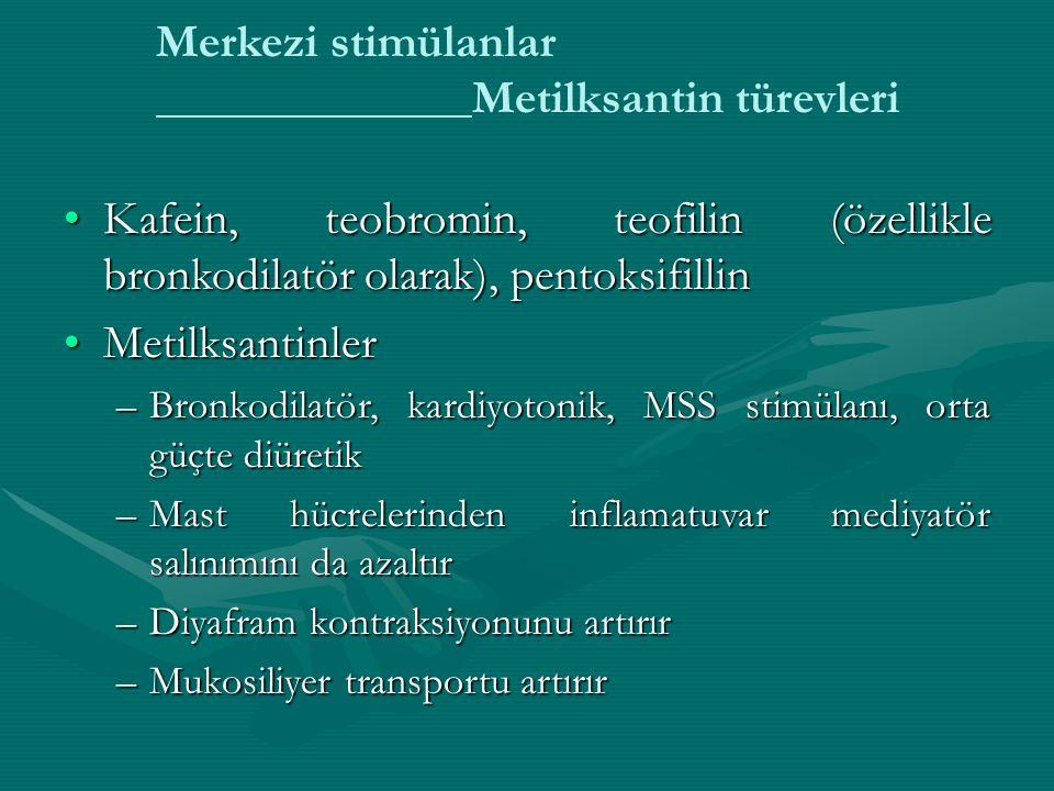 Merkezi stimülanlar Metilksantin türevleri Kafein, teobromin, teofilin (özellikle bronkodilatör olarak), pentoksifillinKafein, teobromin, teofilin (özellikle bronkodilatör olarak), pentoksifillin MetilksantinlerMetilksantinler –Bronkodilatör, kardiyotonik, MSS stimülanı, orta güçte diüretik –Mast hücrelerinden inflamatuvar mediyatör salınımını da azaltır –Diyafram kontraksiyonunu artırır –Mukosiliyer transportu artırır