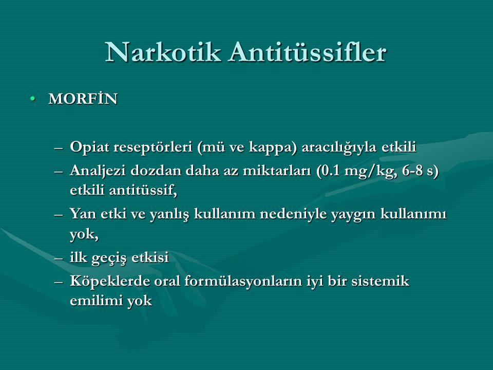 Narkotik Antitüssifler MORFİNMORFİN –Opiat reseptörleri (mü ve kappa) aracılığıyla etkili –Analjezi dozdan daha az miktarları (0.1 mg/kg, 6-8 s) etkili antitüssif, –Yan etki ve yanlış kullanım nedeniyle yaygın kullanımı yok, –ilk geçiş etkisi –Köpeklerde oral formülasyonların iyi bir sistemik emilimi yok