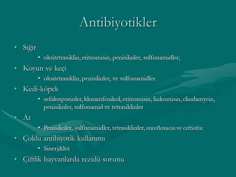Antibiyotikler SığırSığır oksitetrasiklin, eritromisin, penisilinler, sulfonamidler;oksitetrasiklin, eritromisin, penisilinler, sulfonamidler; Koyun ve keçiKoyun ve keçi oksitetrasiklin, penisilinler, ve sulfonamidleroksitetrasiklin, penisilinler, ve sulfonamidler Kedi-köpekKedi-köpek sefalosporinler, kloramfenikol, eritromisin, linkomisin, clindamycin, penisilinler, sulfonamid ve tetrasiklinlersefalosporinler, kloramfenikol, eritromisin, linkomisin, clindamycin, penisilinler, sulfonamid ve tetrasiklinler AtAt Penisilinler, sulfonamidler, tetrasiklinler, enrofloxacin ve ceftiofurPenisilinler, sulfonamidler, tetrasiklinler, enrofloxacin ve ceftiofur Çoklu antibiyotik kullanımıÇoklu antibiyotik kullanımı SinerjiklerSinerjikler Çiftlik hayvanlarda rezidü sorunuÇiftlik hayvanlarda rezidü sorunu