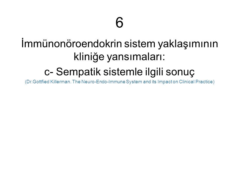 6 İmmünonöroendokrin sistem yaklaşımının kliniğe yansımaları: c- Sempatik sistemle ilgili sonuç (Dr.Gottfied Killerman.