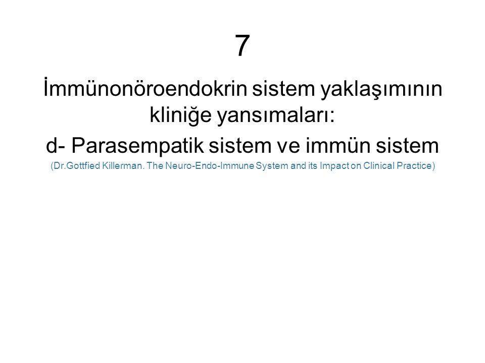 7 İmmünonöroendokrin sistem yaklaşımının kliniğe yansımaları: d- Parasempatik sistem ve immün sistem (Dr.Gottfied Killerman.