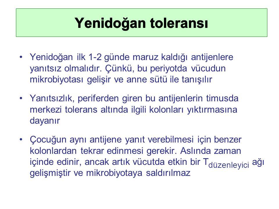 Yenidoğan ilk 1-2 günde maruz kaldığı antijenlere yanıtsız olmalıdır.