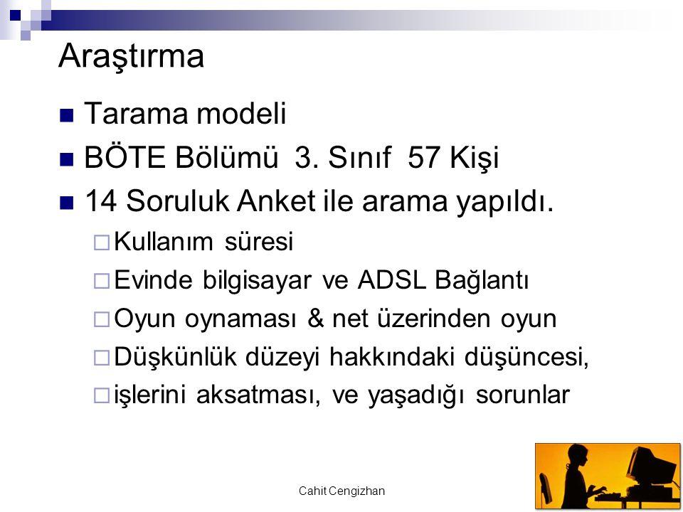 Cahit Cengizhan Araştırma Tarama modeli BÖTE Bölümü 3. Sınıf 57 Kişi 14 Soruluk Anket ile arama yapıldı.  Kullanım süresi  Evinde bilgisayar ve ADSL