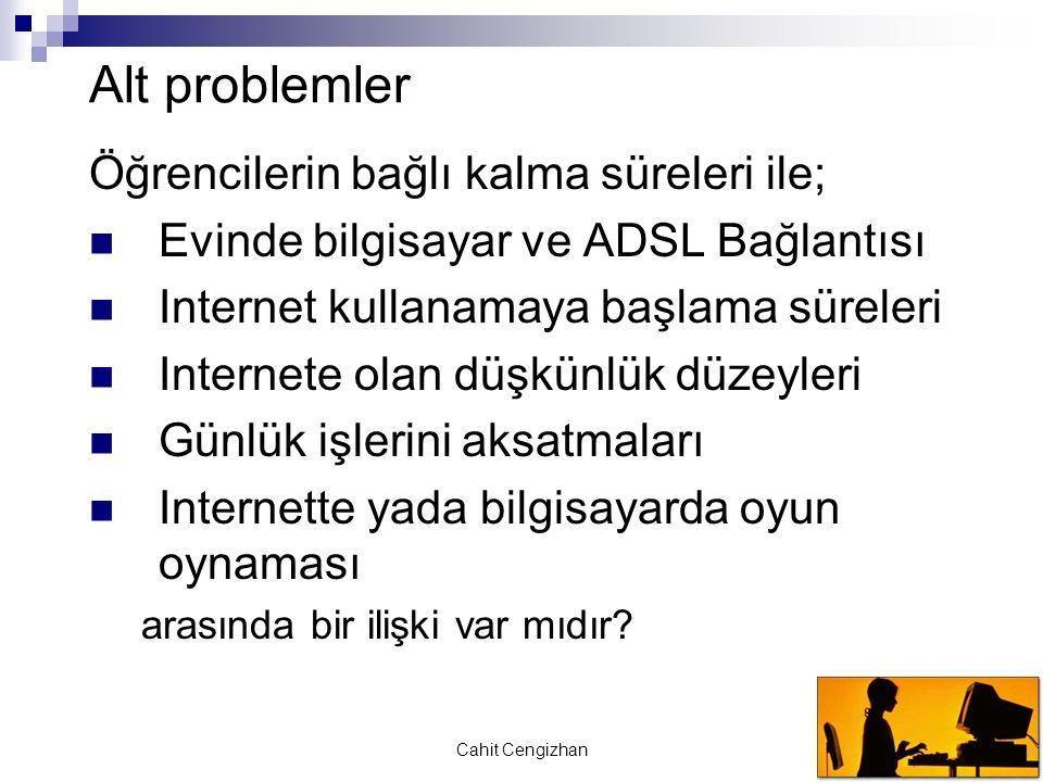 Cahit Cengizhan Alt problemler Öğrencilerin bağlı kalma süreleri ile; Evinde bilgisayar ve ADSL Bağlantısı Internet kullanamaya başlama süreleri Inter