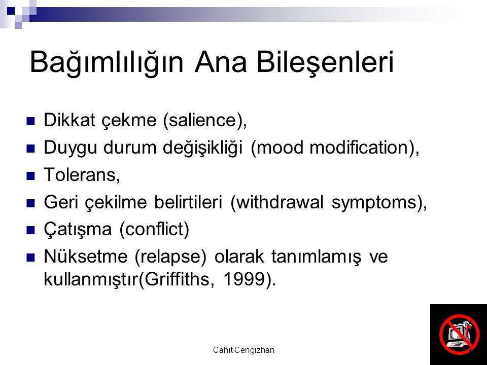 Cahit Cengizhan Bağımlılığın Ana Bileşenleri Dikkat çekme (salience), Duygu durum değişikliği (mood modification), Tolerans, Geri çekilme belirtileri (withdrawal symptoms), Çatışma (conflict) Nüksetme (relapse) olarak tanımlamış ve kullanmıştır(Griffiths, 1999).