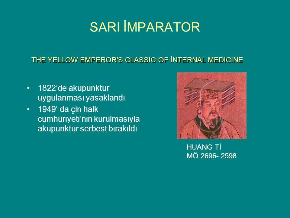SARI İMPARATOR 1822'de akupunktur uygulanması yasaklandı 1949' da çin halk cumhuriyeti'nin kurulmasıyla akupunktur serbest bırakıldı THE YELLOW EMPEROR'S CLASSIC OF İNTERNAL MEDICINE HUANG Tİ MÖ.2696- 2598