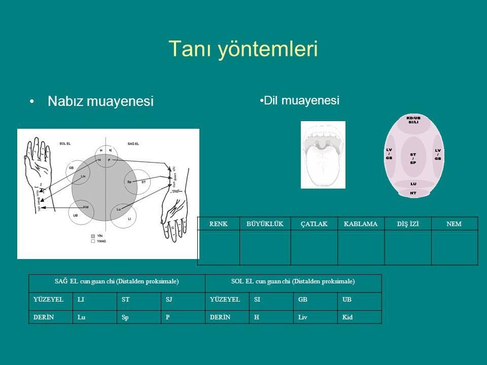 Tanı yöntemleri Nabız muayenesi Dil muayenesi SAĞ EL cun guan chi (Distalden proksimale)SOL EL cun guan chi (Distalden proksimale) YÜZEYELLISTSJYÜZEYELSIGBUB DERİNLuSpPDERİNHLivKid RENKBÜYÜKLÜKÇATLAKKABLAMADİŞ İZİNEM