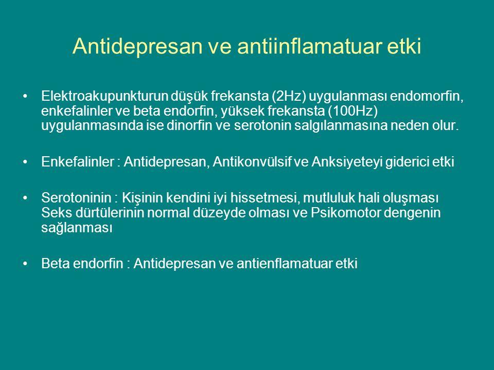 Antidepresan ve antiinflamatuar etki Elektroakupunkturun düşük frekansta (2Hz) uygulanması endomorfin, enkefalinler ve beta endorfin, yüksek frekansta (100Hz) uygulanmasında ise dinorfin ve serotonin salgılanmasına neden olur.