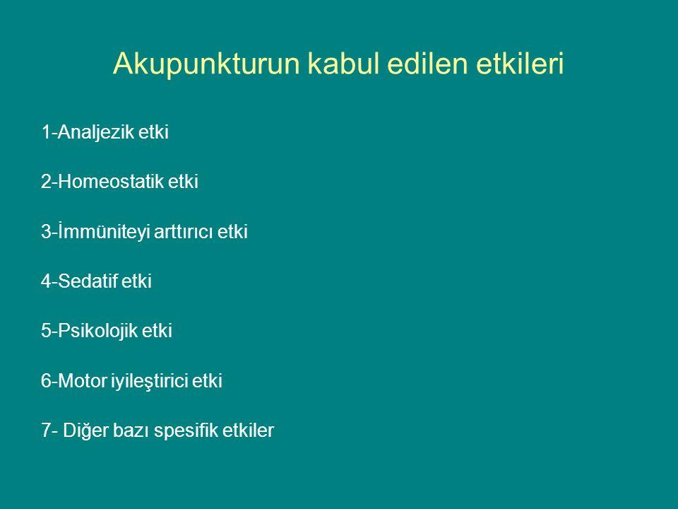 Akupunkturun kabul edilen etkileri 1-Analjezik etki 2-Homeostatik etki 3-İmmüniteyi arttırıcı etki 4-Sedatif etki 5-Psikolojik etki 6-Motor iyileştirici etki 7- Diğer bazı spesifik etkiler