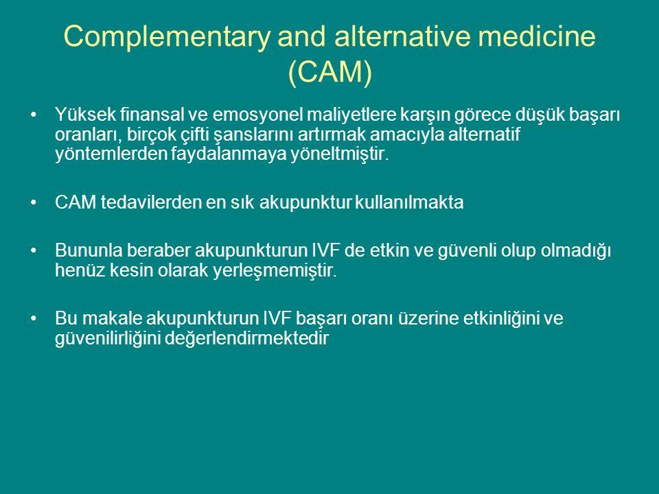 Complementary and alternative medicine (CAM) Yüksek finansal ve emosyonel maliyetlere karşın görece düşük başarı oranları, birçok çifti şanslarını artırmak amacıyla alternatif yöntemlerden faydalanmaya yöneltmiştir.