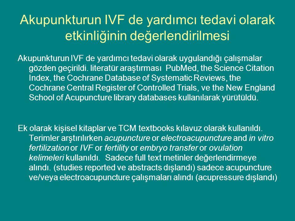 Akupunkturun IVF de yardımcı tedavi olarak etkinliğinin değerlendirilmesi Akupunkturun IVF de yardımcı tedavi olarak uygulandığı çalışmalar gözden geçirildi.