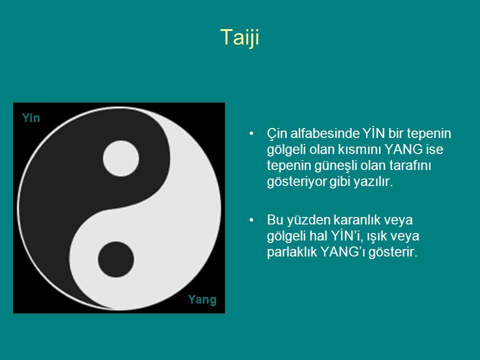 Taiji Çin alfabesinde YİN bir tepenin gölgeli olan kısmını YANG ise tepenin güneşli olan tarafını gösteriyor gibi yazılır.