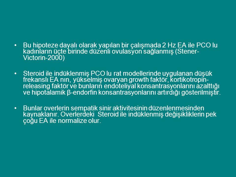 Bu hipoteze dayalı olarak yapılan bir çalışmada 2 Hz EA ile PCO lu kadınların üçte birinde düzenli ovulasyon sağlanmış (Stener- Victorin-2000) Steroid ile indüklenmiş PCO lu rat modellerinde uygulanan düşük frekanslı EA nın, yükselmiş ovaryan growth faktör, kortikotropin- releasing faktör ve bunların endoteliyal konsantrasyonlarını azalttığı ve hipotalamik β-endorfin konsantrasyonlarını artırdığı gösterilmiştir.