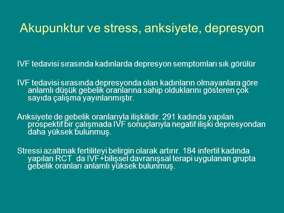 Akupunktur ve stress, anksiyete, depresyon IVF tedavisi sırasında kadınlarda depresyon semptomları sık görülür IVF tedavisi sırasında depresyonda olan kadınların olmayanlara göre anlamlı düşük gebelik oranlarına sahip olduklarını gösteren çok sayıda çalışma yayınlanmıştır.