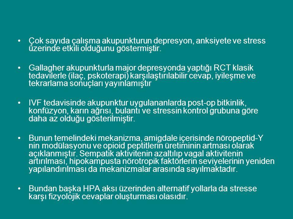 Çok sayıda çalışma akupunkturun depresyon, anksiyete ve stress üzerinde etkili olduğunu göstermiştir. Gallagher akupunkturla major depresyonda yaptığı