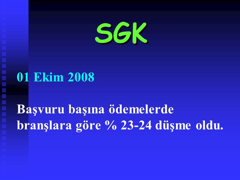 01 Ekim 2008 Başvuru başına ödemelerde branşlara göre % 23-24 düşme oldu. SGK